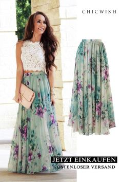 Floral and maxi skirt with ruffles - DE-Best Sellers - Jupe Dress Skirt, Dress Up, Look Fashion, Womens Fashion, Look Boho, Party Skirt, Floral Maxi, Floral Chiffon, Floral Skirts