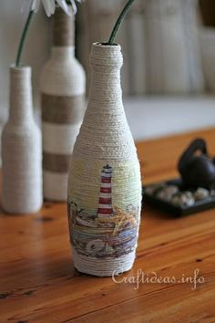 Recycling Craft and Paper Napkin Decoupage - Bottle Vase 1