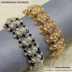 Free tutorial of cross weave technique - by diagram - Shiny bracelets