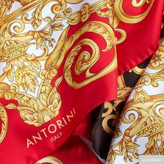 Luxury Gifts: ANTORINI Vintage Silk Scarf in Red
