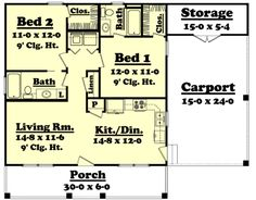 Country Style House Plan - 2 Beds 2 Baths 900 Sq/Ft Plan #430-3 Floor Plan - Main Floor Plan - Houseplans.com