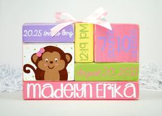 Personalized Baby Birth Stats Pink Monkey Nursery WoodenBlock Shelf Sitter Stack on Etsy, $17.00