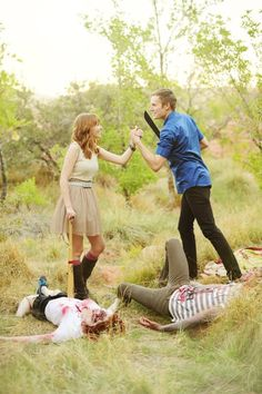 Battling Zombies on a date, why not? Funny photo series.