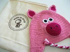 Touca porquinha rosa