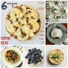 Unique rice cake topping ideas for both meals and snacks! Fruit Snacks, Lunch Snacks, Easy Snacks, Lunches, Rice Cake Recipes, Snack Recipes, Healthy Recipes, Donut Recipes, Skinny Recipes