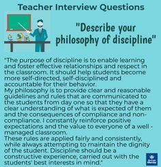 """Teaching interview questions """"Describe your philosophy of discipline"""" #teachers Teacher Jobs, Teacher Interviews, Jobs For Teachers, Job Interviews, Teaching Interview Questions, Interview Advice, Interview Questions And Answers, Teaching Skills, Teacher Inspiration"""