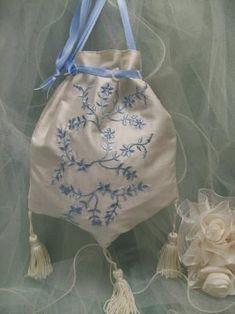 Embroidered Bluebird Bridal Reticule Purse - Roses And Teacups