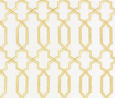 Contemporary Gold Fabric - Geometric Gold and White Embroidered Cotton Upholstery- Modern Metallic Gold Curtain Material - Gold Headboard