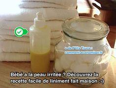 Ce liniment maison est parfait pour nettoyer, hydrater et protéger les fesses de bébé notamment contre les érythèmes fessiers. Ne vous inquiétez pas, cette recette naturelle est simple à faire et fait des miracles pour la peau de bébé.  Découvrez l'astuce ici : http://www.comment-economiser.fr/recette-facile-naturelle-liniment-bio-fait-maison.html?utm_content=buffer85c0c&utm_medium=social&utm_source=pinterest.com&utm_campaign=buffer