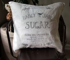 Sugar Sack Pillow. Farmhouse Pillow Cover. Custom Pillow Cover.