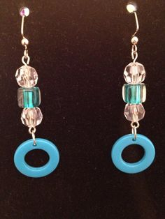 Blue and White Blue Circle Earrings by queenofqeeks on Etsy, $8.00
