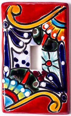 MEXICAN TALAVERA POTTERY SINGLE TOGGLE SWITCH PLATE TTSP001