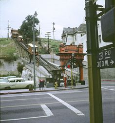 Angels Flight, Bunker Hill, Los Angeles - This copyrighted photograph was taken by George Mann of the comedy dance team, Barto & Mann California History, California Dreamin', Los Angeles California, Vintage California, Los Angeles Area, Downtown Los Angeles, Bunker Hill Los Angeles, Angel Flight, Los Angeles Hollywood