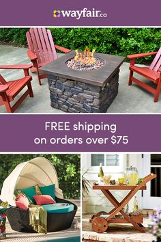 The right patio furniture can enhance any outdoor space and add casual style to the exterior of your home so it's important that you choose something that complements your decor, both exterior and interior. Visit Wayfair and sign up today to get access to exclusive deals everyday up to 70% off. Free shipping on all orders over $75! Outdoor Seating, Outdoor Spaces, Outdoor Living, Outdoor Decor, Sloped Backyard, Backyard Patio, Outdoor Projects, Wood Projects, Potted Plants Patio