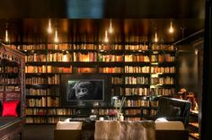 Lighted book case.
