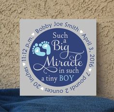 "Such a Big Miracle Nursery Sign for Baby Boy or Girl birth details custom hand painted on a 12"" x 12"" stretched canvas. Great gift for the new baby! PLEASE ""LEAVE US A NOTE"" WITH THE FOLLOWING INFORMA"