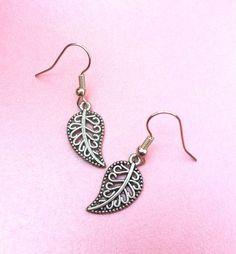 Silver leaf earrings silver leaves leaf by LozziGoodsJewellery