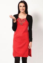 The pretty embroidery on the front and comfortable acrylic material certainly make this red coloured kurta a worthy investment. This stylish kurta from Aurelia is perfect to be worn on a mild winter outing. Pair this regular-fit kurta with matching salwar and dupatta to complete your ethnic appearance.
