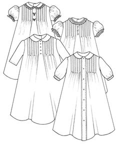 Tucked Baby Daygown sewing pattern by Trudy Horne/Collars, Etc. Pattern Co. Easy Baby Sewing Patterns, Frock Patterns, Kids Clothes Patterns, Baby Girl Dress Patterns, Dress Sewing Patterns, Clothing Patterns, Costume Patterns, Coat Patterns, Kids Clothing