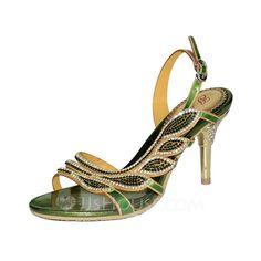 [US$ 63.99] Women's Leatherette Stiletto Heel Sandals Slingbacks With Rhinestone