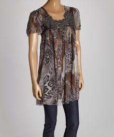 Look what I found on #zulily! Black & Gray Animal Silk-Blend Tunic by Pretty Angel #zulilyfinds