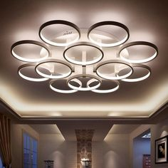 Expressive Modern Simple Dimmable Circle Led Chandelier Metal And Acrylic Luminarias Ceiling Chandelier Remote Control Led Llight Fixtures Lights & Lighting