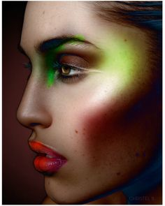"""INSPIRATION:""""SPECTRUM"""" A study in clashes of color and contour with electric eyeshadow and lipstick. PHOTO:Christel Bangsgaard"""