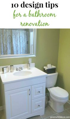 10 design tips for a bathroom renovation – some great tips like vanity height!   Green With Decor