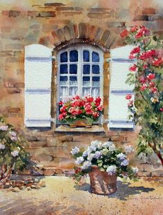 Leinwanddruck 'French Cottage Window' von Ann Mortimer - My CMS Watercolor Landscape, Watercolour Painting, Watercolor Flowers, Painting & Drawing, Watercolors, Pinterest Arte, Art Expo, Cottage Windows, Painting Inspiration