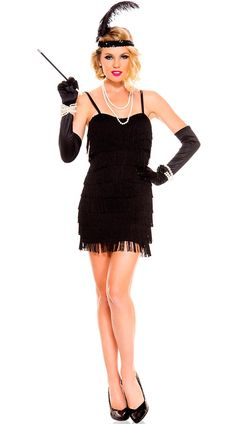 LADIES 1920'S CHARLESTON FLAPPER DRESS 20S FANCY DRESS OUTFIT FRINGE GATSBY
