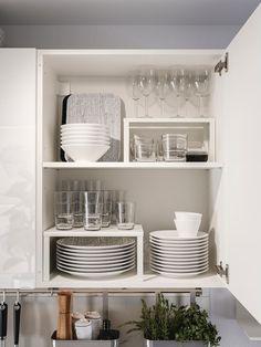 Kitchen Cupboard Organization, Home Organisation, Organize Kitchen Cupboards, Dishes Organization, Ikea Kitchen Shelves, White Ikea Kitchen, Organizing, Kitchen Interior, New Kitchen