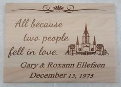 Beautiful laser engraved wedding plaque. Made from Alder wood. Includes a slot on the back for hanging on the wall. Edges are rounded over.  Includes custom name, date and LDS temple. Approximate size 7 x 10  Great gift for the bride and groom! Or anyone, for that matter, that would like a momento of their marriage day.  I dont have jpeg files for every temple, so pls check with me first before you purchase to make sure I can include the temple that you want.