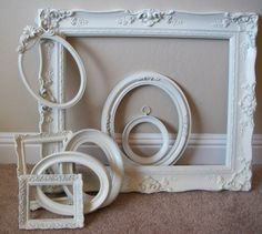 Picture Frames Off White Baroque Vintage by ABackyardCreation