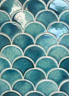 Turquoise Tile Sea Glass Fan Turquoise And Gray Tile Backsplash Turquoise Tile Floor Quarry Tiles, Mosaic Tiles, Pool Tiles, Fish Scale Tile, Turquoise Tile, Small Bathroom, Bathroom Stuff, Family Bathroom, Bathroom Ideas