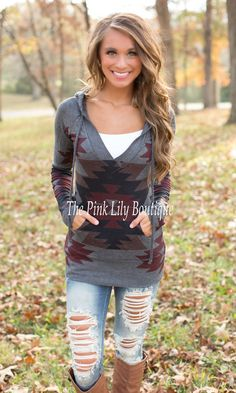 The Pink Lily Boutique - The Fireside Aztec Hoodie Charcoal , $39.00 (http://thepinklilyboutique.com/the-fireside-aztec-hoodie-charcoal/)
