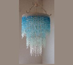 Sea Glass Chandelier 3 Tier WATERFALL  Fixture Coastal Decor * the Trinidad Bay* Ombre Beach Glass