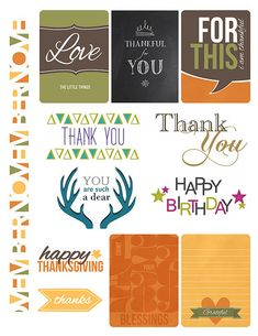 Paper Crafts & Scrapbooking November 2014 Simple Printables | fall, triangles, dear, journaling cards, border, birthday, thank you, Thanksgiving