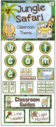 Jungle Safari Classroom Theme Pack - Over 100 pages of jungle decor!                                                                                                                                                      More