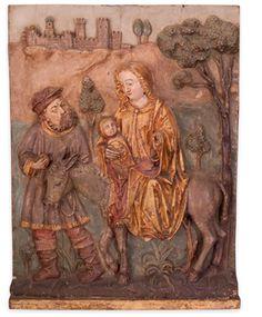 Fuga para o Egipto. Retábulo em madeira entalhada dourada e policromada Trabalho Luso-Flamengo, Séc. XV/XVI  São José representado com saio.