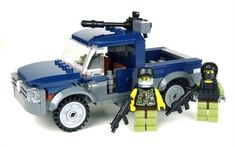 Technical Gun Truck This set is contains nearly 164 REAL LEGO® Pieces and 2 Mini-figures! -Roof mounted .50 machine gun -2 Mercenaries with customs weapons -7 stud construction and front cab seating for two mini-figures!