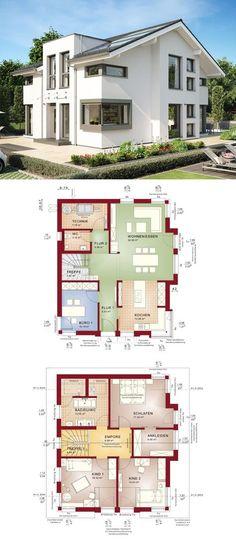 Bauhaus Stadtvilla modern mit Flachdach Architektur - Haus bauen - offene kuche wohnzimmer grundriss