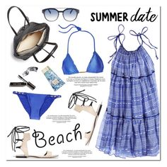 """Summer Date: The Beach"" by helenevlacho ❤ liked on Polyvore featuring Carolina K, 3.1 Phillip Lim, Loeffler Randall, ViX, Italia Independent, AERIN, Bobbi Brown Cosmetics, beach, contestentry and summerdate"