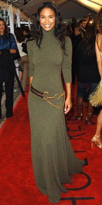 InStyle is the leading site for celebrity style. See expert fashion advice, star hairstyles, beauty tips, how-to videos and real-time red carpet coverage. Joy Bryant, Ralph Lauren Womens Clothing, Cashmere Dress, Olive Green Dresses, Oscar Dresses, Ralph Lauren Style, Jean Paul Sartre, Runway Fashion, Curvy Fashion