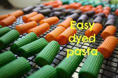 dyed pasta - happy hooligans - coloured pasta, food colouring/vinegar