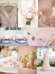 #Pantone Colour 2016 #Rose #Quartz #Wedding Styling Mood Board from The Wedding Community
