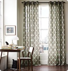 Love the grey, patterned curtains.  So simple and elegant.