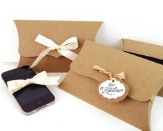 6 Large Pillow Boxes - 7.75 x 4.5 x 1.5 - reusable gift box, unique eco packaging for jewelry, accessories  - Kraft, black or white via Etsy