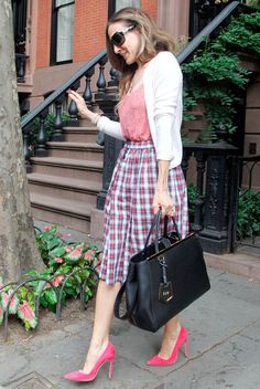 Lovely checked skirt, powerful shoes