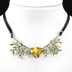 CITRINE & PERIDOT (NATURAL) 2-TONE BLACK RHODIUM PLATED & 14K YELLOW GOLD PLATED 925 SILVER NECKLACE