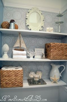 How to install semi-floating shelves. Tip on how to secure items to the wall when there is no stud to drill into.